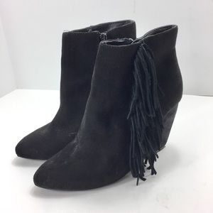 Madden Girl Pave Ankle Boot Suede Fringe 7M Black